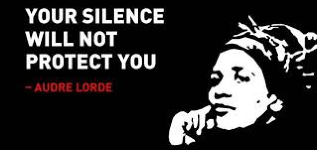 Your silence will not protect you. - Audre Lorde Text is white and all capitals with a black background. A silhouette of Lloyd in a headwrap resting her face on one hand is to the right of the text. Lorde's name is below the text in red.